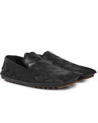 Slippers en cuir tressés noirs Bottega Veneta