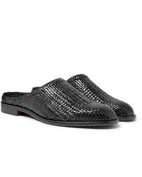 Slippers en cuir tressés noirs Hender Scheme
