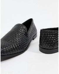 Slippers en cuir tressés noirs Kg Kurt Geiger