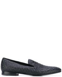 Slippers en cuir tressés noirs Roberto Cavalli