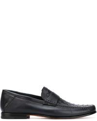 Slippers en cuir tressés noirs Santoni