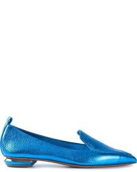 Slippers en cuir turquoise