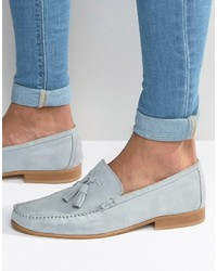 Slippers en daim bleu clair