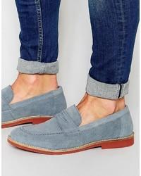 Slippers en daim bleu clair Asos