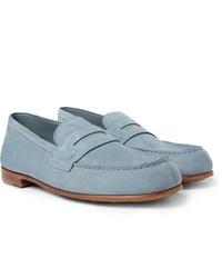 Slippers en daim bleu clair J.M. Weston
