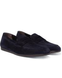Slippers en daim bleu marine J.M. Weston