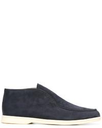 Slippers en daim bleu marine Loro Piana