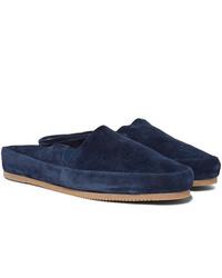 Slippers en daim bleu marine Mulo
