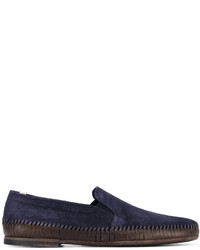 Slippers en daim bleu marine Officine Creative