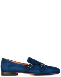 Slippers en daim bleu marine Santoni