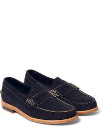 Slippers en daim bleu marine