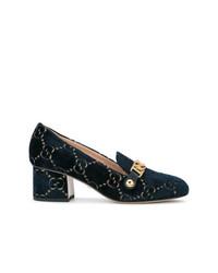 Slippers en daim bleus marine Gucci