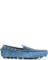 Slippers en daim bleus Philipp Plein