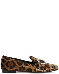 Slippers en daim imprimés léopard bruns clairs Dolce & Gabbana