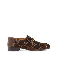 Slippers en daim marron foncé Gucci