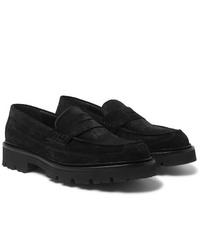 Slippers en daim noirs Grenson