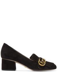 Slippers en daim noirs Gucci