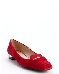 Slippers en daim rouges