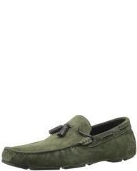 Slippers en daim vert foncé