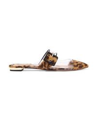 Slippers en poils de veau imprimés léopard marron clair