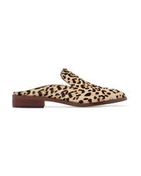 Slippers en poils de veau imprimés léopard marron