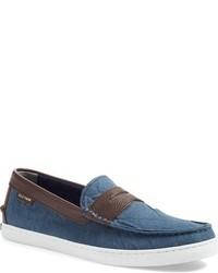 Slippers en toile bleus