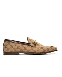Slippers en toile imprimés marron clair Gucci