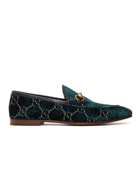 Slippers en velours imprimés bleu marine Gucci