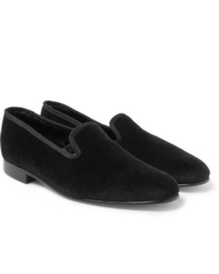 Slippers en velours noirs George Cleverley