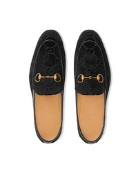 Slippers en velours noirs Gucci