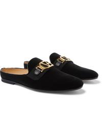 Slippers en velours noirs Versace