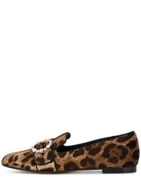 Slippers imprimés bruns foncés Dolce & Gabbana