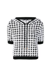 Sweat à capuche à manches courtes imprimé noir et blanc Balmain