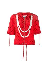 Sweat à capuche à manches courtes imprimé rouge Moschino