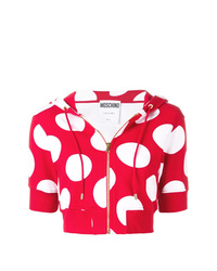 Sweat à capuche á pois rouge Moschino