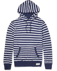 Sweat à capuche à rayures horizontales blanc et bleu marine Polo Ralph Lauren
