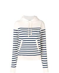 Sweat à capuche à rayures horizontales blanc et bleu marine Saint Laurent