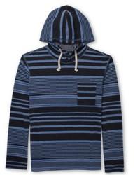 Sweat à capuche à rayures horizontales bleu marine