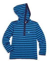 Sweat à capuche à rayures horizontales bleu