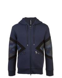 Sweat à capuche bleu marine Neil Barrett