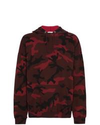 Sweat à capuche camouflage bordeaux Valentino