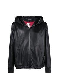 Sweat à capuche en cuir noir Alexander McQueen