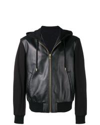 Sweat à capuche en cuir noir Versace