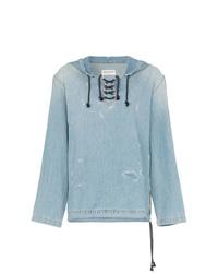 Sweat à capuche en denim bleu clair Saint Laurent