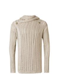 Sweat à capuche en tricot beige Rick Owens
