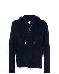 Sweat à capuche en tricot bleu marine Eleventy
