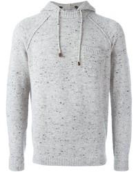 Sweat à capuche en tricot gris Brunello Cucinelli