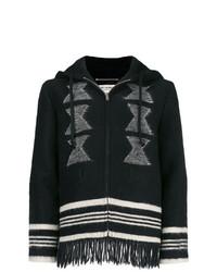 Sweat à capuche en tricot noir et blanc Saint Laurent