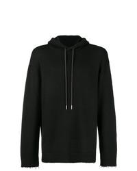 Sweat à capuche en tricot noir Helmut Lang