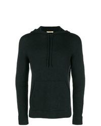 Sweat à capuche en tricot noir Nuur